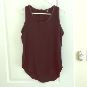 Kenneth Cole black tank with leather-look accent M